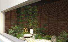 浴室から望む和風の坪庭